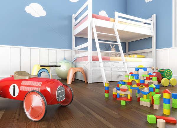 Сток-фото: игрушками · комнату · синий · стен · передний · план