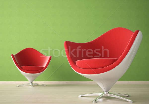 Stockfoto: Interieur · stoelen · twee · moderne · Rood · witte