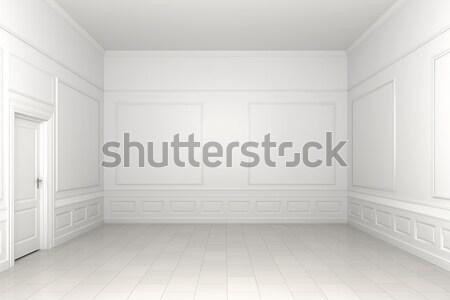 Stock fotó: üres · fehér · szoba · 3D · jelenet · klasszikus
