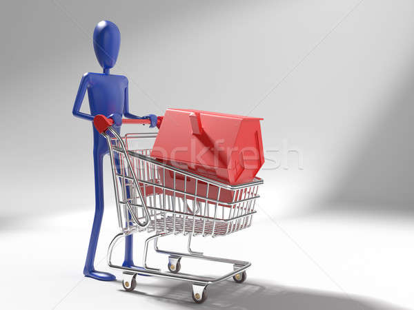 dummy with house on shopping cart Stock photo © arquiplay77