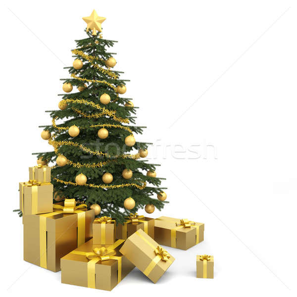 Stock photo: golden isolated christmas tree