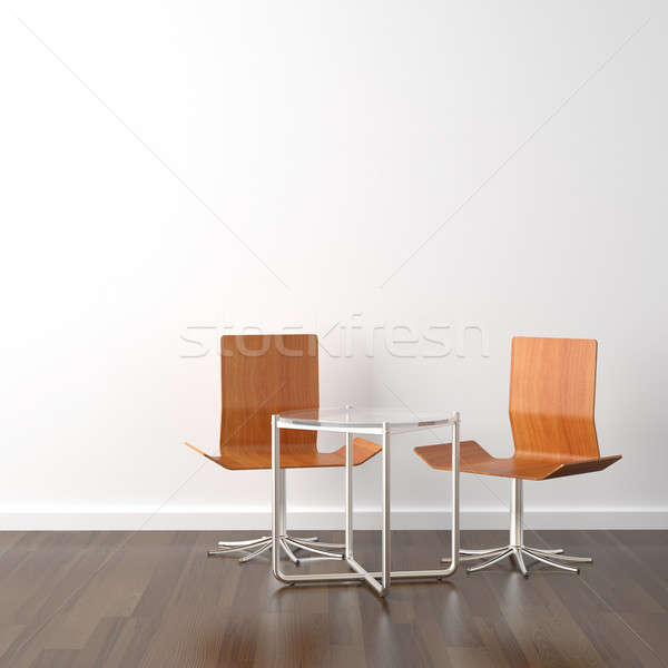 two wooden chairs on white Stock photo © arquiplay77