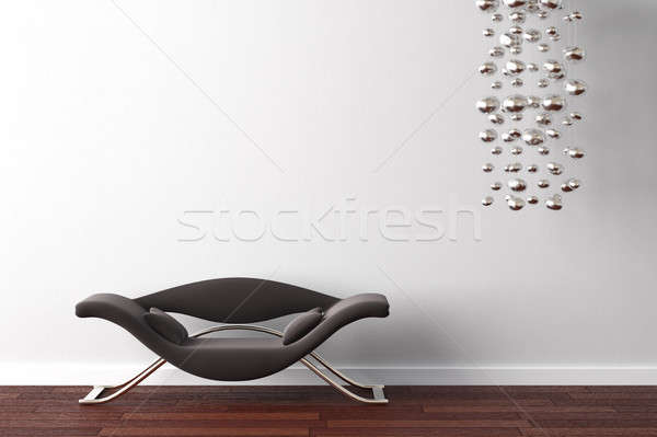 interior design armchair and lamp on white Stock photo © arquiplay77