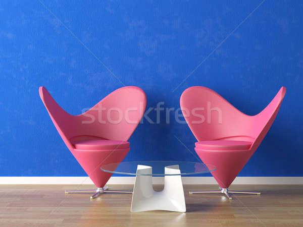 розовый синий стены два моде домой Сток-фото © arquiplay77