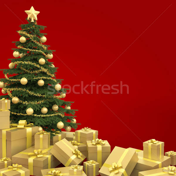 Photo stock: Arbre · de · noël · isolé · rouge · or · décoré · beaucoup