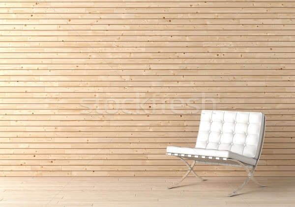 Foto stock: Interior · diseno · madera · silla · pared · blanco