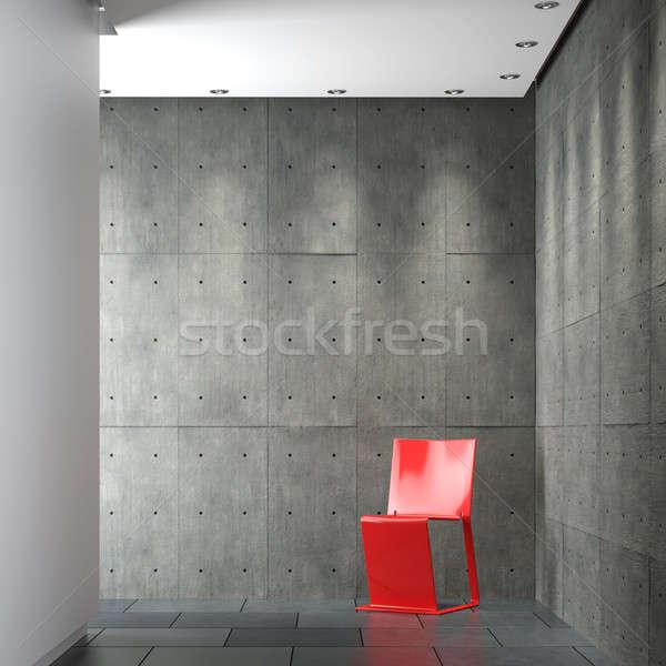 Innenarchitektur modernen spärlich rot Stuhl Stock foto © arquiplay77