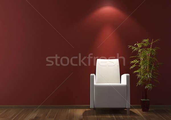 interior design white armchair on bordeaux wall Stock photo © arquiplay77