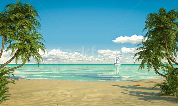 idyllic caribean beach view copy space Stock photo © arquiplay77