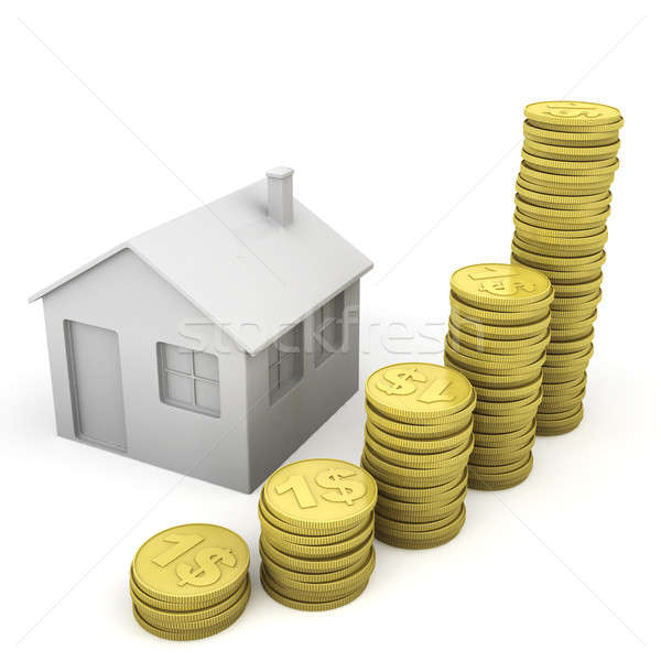 stack of coins and house icon Stock photo © arquiplay77