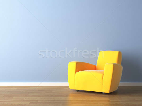 interior design yellow armchair on blue wall Stock photo © arquiplay77