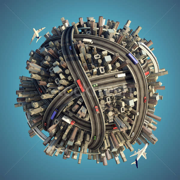 Miniature chaotic urban planet isolated Stock photo © arquiplay77