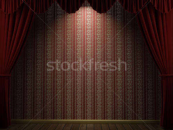 Open theater gordijnen 3d render tonen Rood Stockfoto © arquiplay77