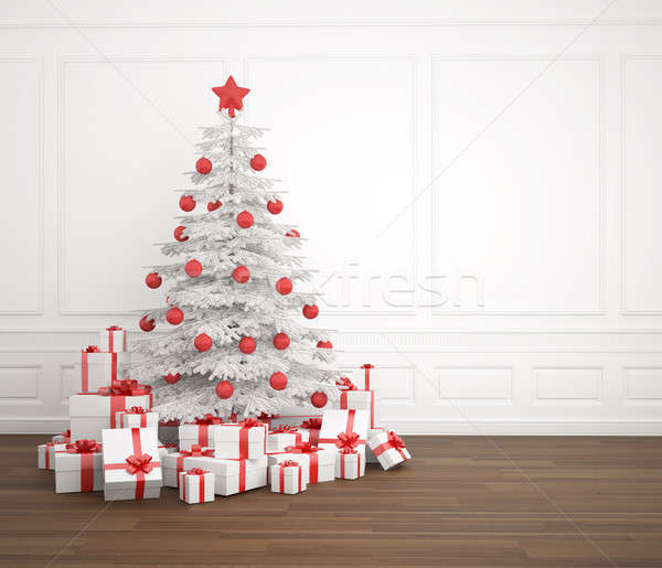 Stock photo: white and red christmas tree in empty room