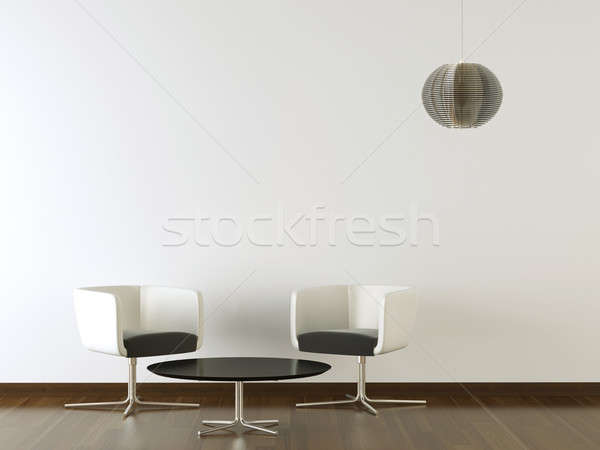 Diseno interior negro muebles blanco pared dos Foto stock © arquiplay77