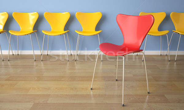 row of chairs on blue wall Stock photo © arquiplay77
