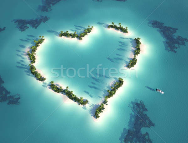 heart shaped island Stock photo © arquiplay77