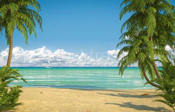idyllic caribean beach view Stock photo © arquiplay77