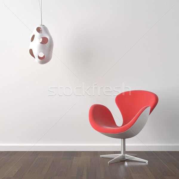 Stok fotoğraf: Iç · mimari · kırmızı · modern · sandalye · lamba · turuncu
