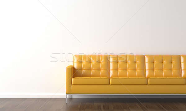 Amarillo sofá blanco pared diseno interior espacio de la copia Foto stock © arquiplay77