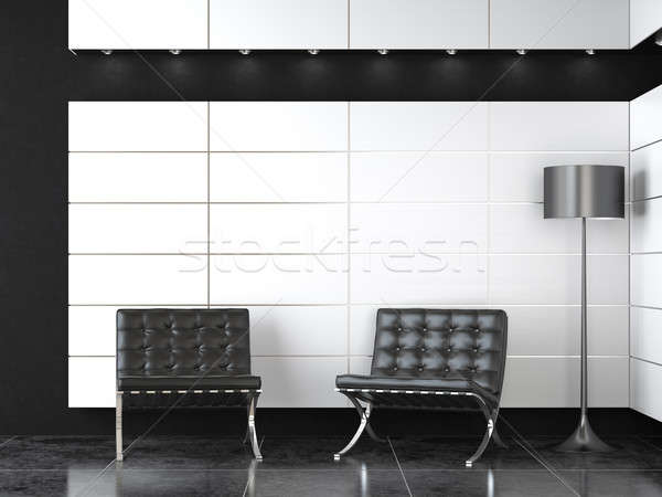 interior design of modern black and white reception Stock photo © arquiplay77