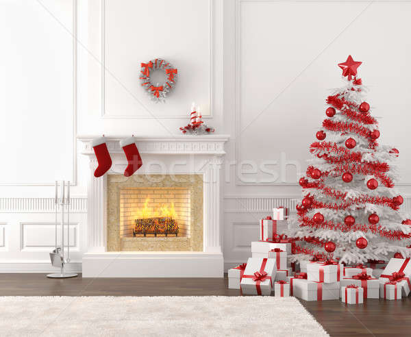 white and red christmas fireplace interior Stock photo © arquiplay77