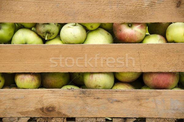 Appels houten vak vers organisch voedsel Stockfoto © Arrxxx