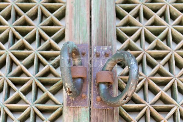 Részlet ajtó buddhista templom öreg fából készült Stock fotó © Arrxxx
