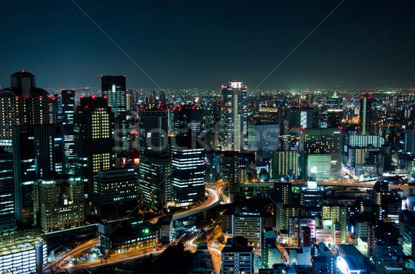 Osaka Skyline Nacht Stadt Japan Business Stock foto © Arrxxx