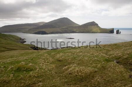 Eiland eilanden zalm boerderij landschap Stockfoto © Arrxxx