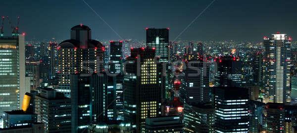 Foto stock: Osaka · linha · do · horizonte · noite · cidade · Japão · negócio