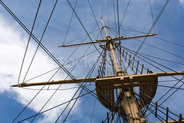 Mast of a big old sailing ship Stock photo © Arrxxx