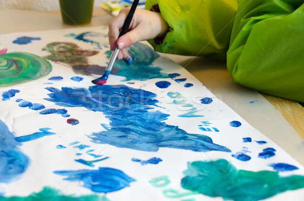 Kind schilderij penseel water kleuren papier Stockfoto © Arrxxx
