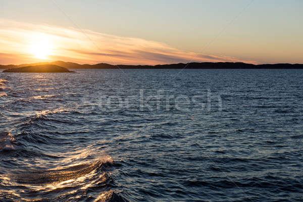 Oceano paisagem ártico pôr do sol noite água Foto stock © Arrxxx