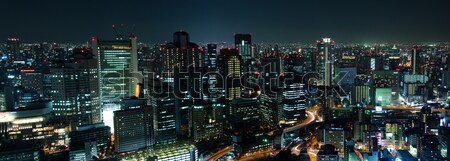 Stockfoto: Osaka · skyline · nacht · panorama · stad · Japan