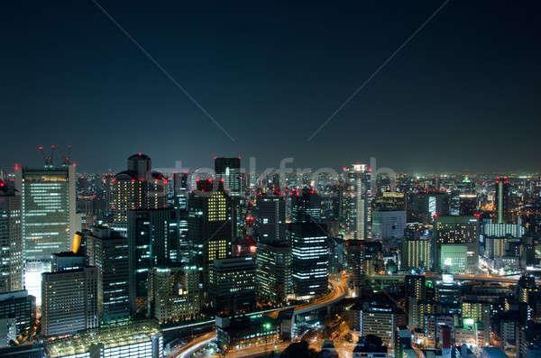 Osaka ufuk çizgisi gece şehir Japonya iş Stok fotoğraf © Arrxxx
