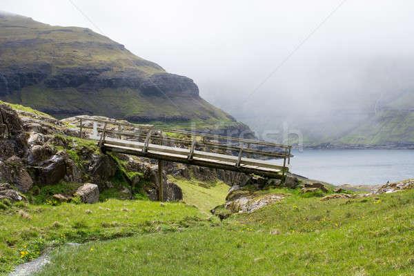 Landschap eilanden brug typisch groen gras rotsen Stockfoto © Arrxxx