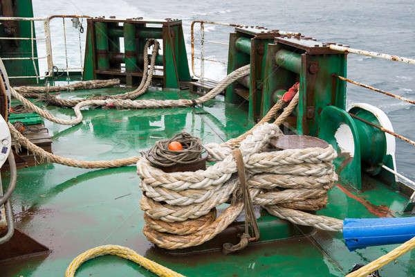Gemi halatlar katlanmış deniz güvenlik okyanus Stok fotoğraf © Arrxxx