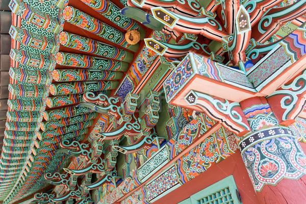 Kleurrijk kunst tempel schilderijen hout Stockfoto © Arrxxx