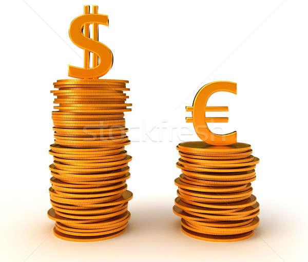 Avantaj dolar euro para beyaz Metal Stok fotoğraf © Arsgera