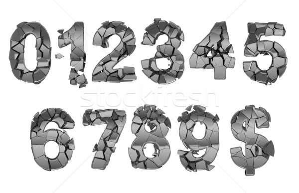 Stock photo: Broken 0-9 font numerals