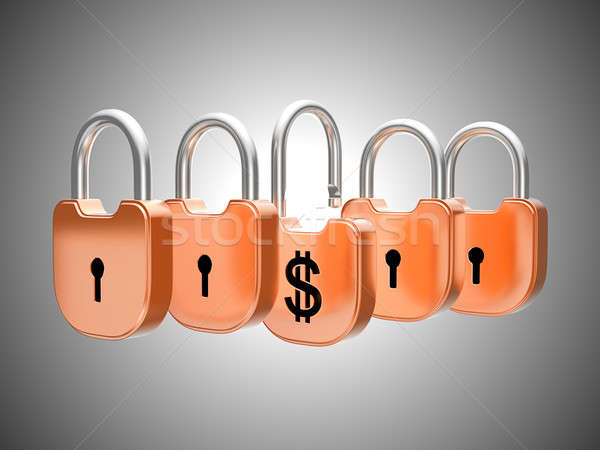 Stock photo: Padlocks concept: US dollar currency safety