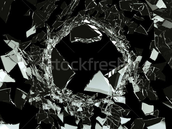 Bullet hole Shattered glass on black Stock photo © Arsgera