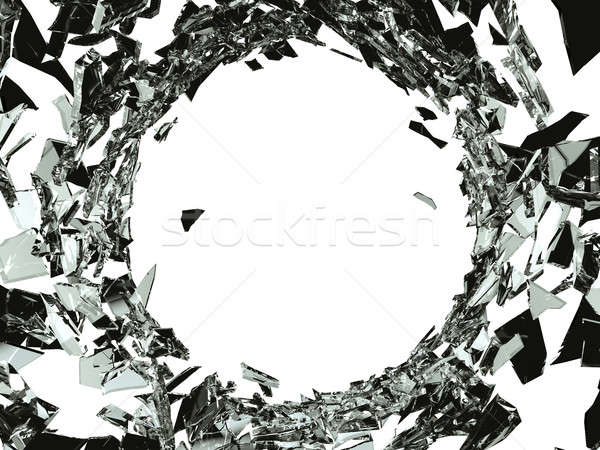 Bullet hole in Shattered glass on white Stock photo © Arsgera