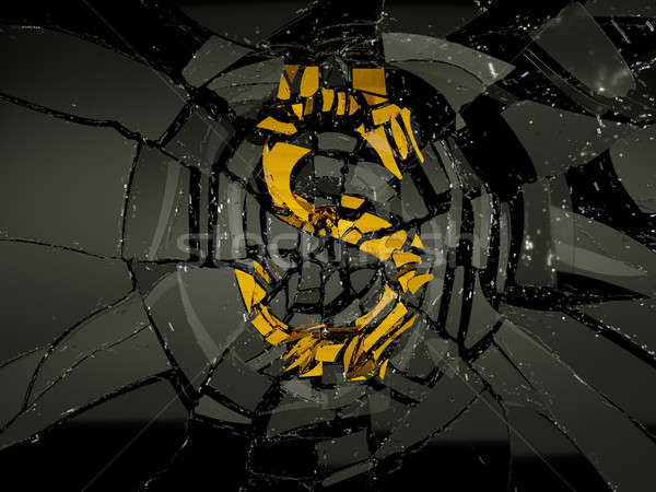 Glass and golden US dollar symbol shattered Stock photo © Arsgera