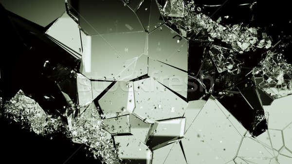 Pieces of broken or cracked glass on black Stock photo © Arsgera