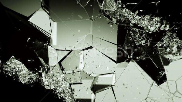 Piezas roto agrietado vidrio negro grande Foto stock © Arsgera