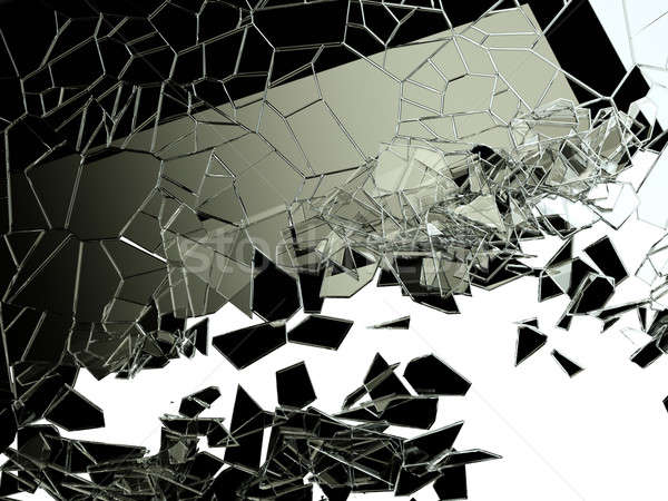 Peças rachado vidro branco grande Foto stock © Arsgera