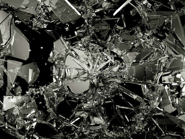 Pieces of destructed Shattered glass on black Stock photo © Arsgera