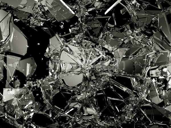 Peças vidro quebrado preto grande abstrato Foto stock © Arsgera